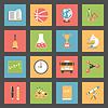 Schule Flach Symbole Set
