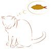 Cat träumt von Fisch