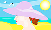 Porträt des Mädchens in Hut auf Strand-Hintergrund