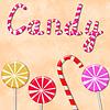 단어 사탕과 막대 사탕 배경 | Stock Illustration