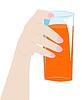 Weibliche Hand mit Glas