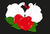 Schwäne und Rose
