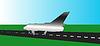 Poster mit Passagierflugzeug | Stock Vektrografik