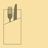 Messer, Gabel und Serviette auf gelbem Hintergrund