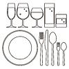Teller, Messer, Gabel, Löffel und Trinkgläser