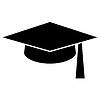 Doktorhut oder Abschluss-Hut, Bildung Symbol