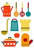 Bunte Küchenhelfer-Set
