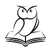 Мультяшный сова и книга - символ мудрости | Векторный клипарт