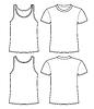 Singulett-und T-Shirt-Vorlage - Vorder-und Rückseite
