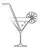 Cocktail-Glas mit Zitrone und Strohhalm