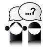 Zwei Menschen mit Fragezeichen
