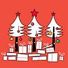 Weiße Weihnachtsbäume mit Geschenken
