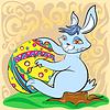 Osterhase mit großen Ei und Pinsel