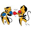 Cartoon zwei Tigerjungen nette junge Kampfkunst