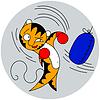 cartoons junge Tiger schlägt Tasche der Kampfkunst
