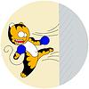 cartoons junge Tiger der Kampfkunst schlägt Wand