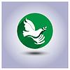 Eco ikona naklejki ptaka w ręku | Stock Vector Graphics