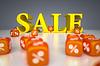 Sprzedaż podpisania z kostki procentowych | Stock Illustration