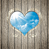 Wooden heart with blue sky | Stock Foto