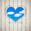 Wooden heart clouds | Stock Foto