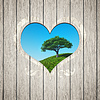 Wooden heart with tree | Stock Foto