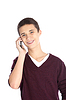 Teenager on his mobile phone   Stock Foto