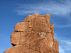 Arbatax mit bekannten roten Höhle Porphyrfelsen, | Stock Foto