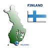 Collage Karte Flagge Abzeichen finnland