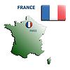 Collage Karte Flagge Abzeichen frankreich