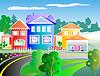 Cartoon-Stil Nostalgische Straße mit Häusern