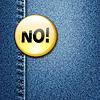 Helle bunte Abzeichen mit Wort NEIN! auf Denim