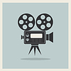 Kamera filmowa na tle retro   Stock Vector Graphics