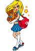 hübsches junges modisches Teenager-Mädchen mit Bär Spielzeug