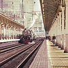 Retro pociąg parowy. | Stock Foto