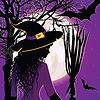 Векторный клипарт: Хэллоуин фон с молодой ведьмы.