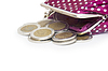 Schöne Geldbörse mit Münzen | Stock Foto
