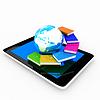 Tablet PC i ziemi z kolorowych prawdziwych książek | Stock Illustration