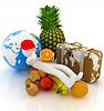 Mężczyzna 3D z owoców cytrusowych, ziemi i podróżnik `ów walizce | Stock Illustration