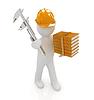 3d inżynier człowiek w kask z Suwmiarka An | Stock Illustration