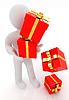 Mężczyzna 3D rozsypał czerwone prezenty z złota wstążka | Stock Illustration