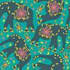 Oriental nahtlose Muster mit Elefanten auf grün