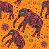 African nahtlose Muster mit Elefanten auf orange