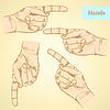 Указывая рукой, фон в стиле эскиза | Векторный клипарт