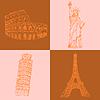 Szkic Eifel Tower, wieża w Pizie, Coloseum i | Stock Vector Graphics