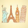 Sketch Eifel Turm, Pisa Turm, Big Ben und Statue
