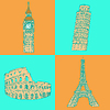 Sketch Eifel Turm, Pisa Turm, Big Ben und