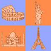Sketch Eiffelturm, Kolosseum, Taj Mahal und Statue