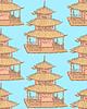 Sketch chinesischen Tempel, nahtlose Muster