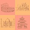 Sketch chinesischen Tempel, Kolosseum, Taj Mahal und Sydne