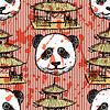 Sketch chinesischen Tempel und Panda, nahtlose Muster